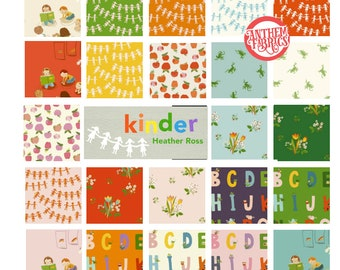 Kinder Heather Ross,23 fat quarters - quilt cotton fabric bundle - kindergarten apples alphabet frogs spring blooms