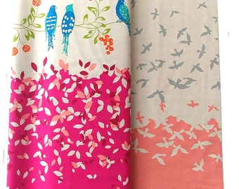 Echino Standard Border Cotton Linen fabric Bird Song by Etsuko Furuya EF100_10A Pink Rose berry - 23in Remnant