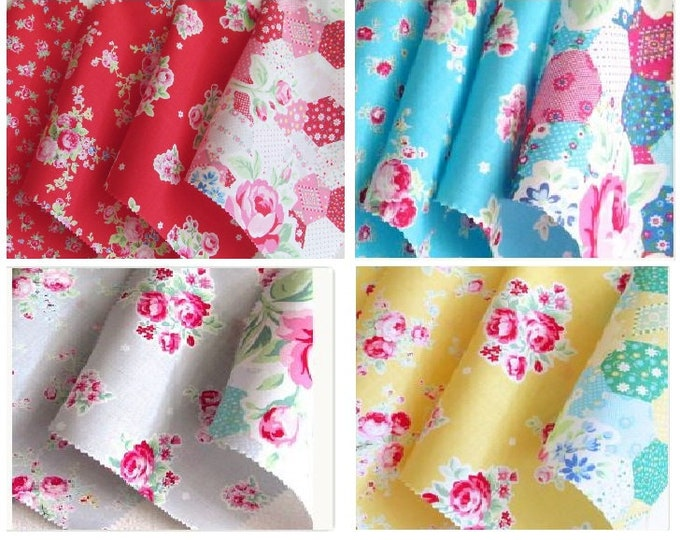 Fat quarters - Flower Sugar by Lecien - Floral cotton fabric - select a bundle