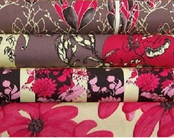 Tina Givens - Treetop Fancy in raspberry-  Half yard set of 4