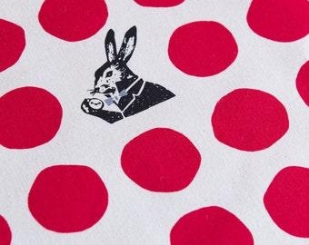 Echino Rabbit Nunokara - Alice in Wonderland - Dots Rabbit EF100-2-30 Red - Canvas Cotton Fabric, 17 inches