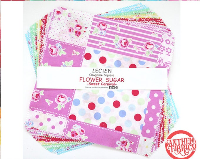 "Flower Sugar Sweet Carnival -  layer cake quilt cotton fabric squares bundle - 10"" x 10"" Origami Pack Lecien Japan - 42 pieces"