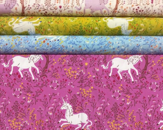 Unicorn HR9657 - Far Far Away by Heather Ross, Quilting cotton fat quarter bundle, 4 pieces