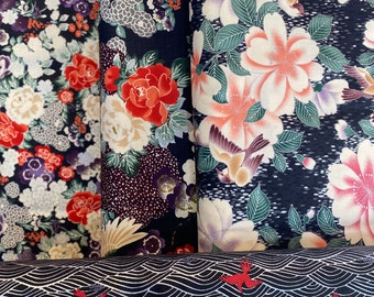 Quilt Gate Floral and Bird quilting kimono cotton - Hyakka Ryoran Tori silver metallic fabric bundle, 1/2 yard cuts - set of 4 in black