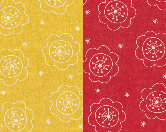 Cotton Linen fabric - Retro vintage 1970's Scandinavian  Flowers L40583 - Minakoko by Koko Seki for Lecien - select color and length