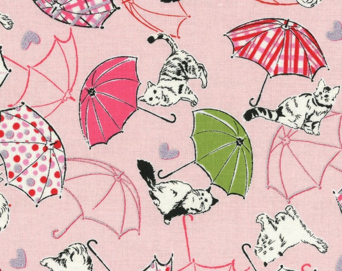 Radiant Girl Fabric by Lecien - Kitty Umbrella L49180-20 Light Pink, end of bolt 38 inches