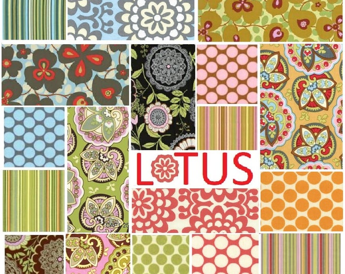 Amy Butler Lotus - 18 fat quarters - quilting cotton - stripes, full moon dots, wallflower, morning glory, star paisley, lacework fabrics