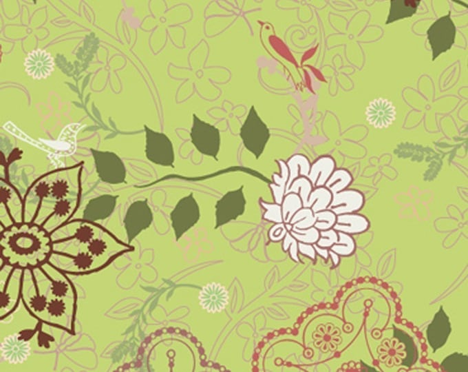 SALE Botanica fabric by the yard - Patricia Bravo for Art Gallery Fabrics -  Lacy Rosettes Green BO2151