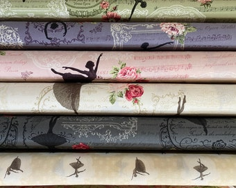 Quilt Gate Rose Prima ballet cotton fabric - Ballerina, half yards - 6 pieces
