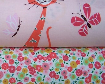 Alexander Henry - Calico Cat and Kitty Calico Flowers in Pink - 1 yard bundle of 2