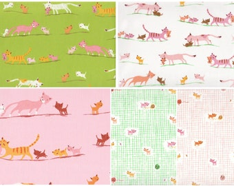 Tiger Lily by Heather Ross - Cat Family & Kittens and Yarn mini bundles, fat quarter cuts - 5 pieces