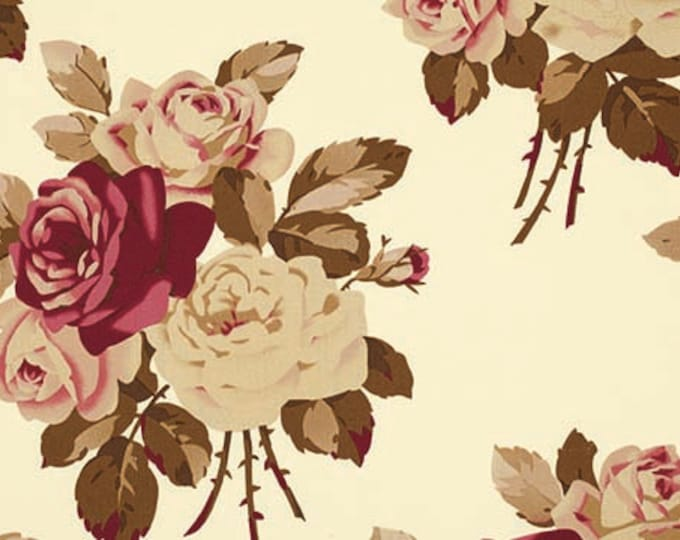 HOME DECOR Petal by Tanya Whelan - Large Antique Roses HDTW055 Ivory, wide with cotton sateen - 1 yard