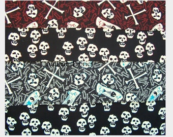 Halloween fabric cotton mask making fabric - skulls, skateboards, crossbones - SK8R by Alexander Henry - 4 fat quarters