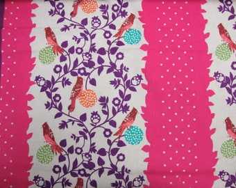 ECHINO Bird Perch EF604-C Pink Berry- Japanese cotton linen fabric by Etsuko Furuya, half yard