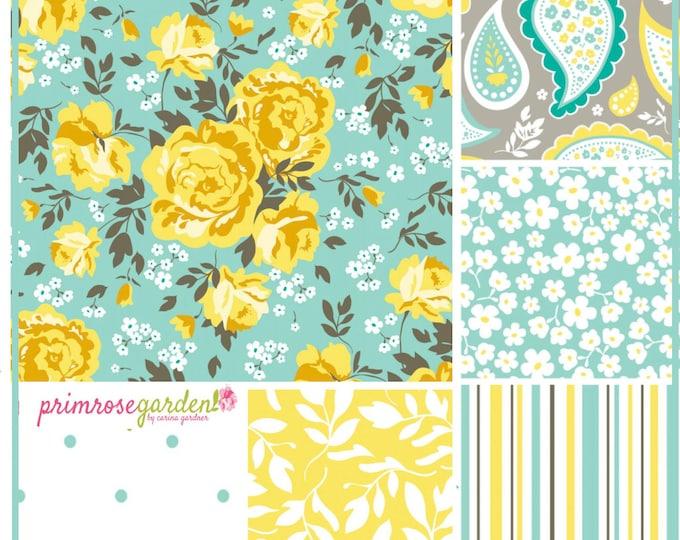Primrose Garden by Carina Gardner for Riley Blake 100% Designer Cotton Fabric Bundle in Green, half yard cuts, 6 pieces