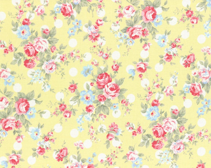 Princess Rose by Lecien - Red Pink Roses & Polka Dots L31265-50 Yellow cotton fabric