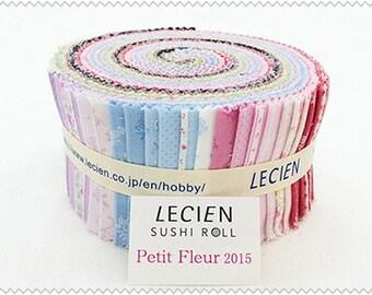 Floral Jelly Roll 2 1/2 inch fabric strips - 42 pieces - Lecien Sushi roll - Quilt cotton bundle Petit Fleur L3007-SR