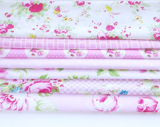 Tanya Whelan fabric Sunshine quilting cotton bundle, country cottage french chic - half yard cuts, 7 pieces light PINK