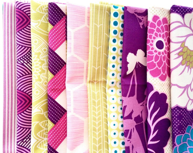 Joel Dewberry Bungalow fabric: fat quarter set of 10, Bramble palette