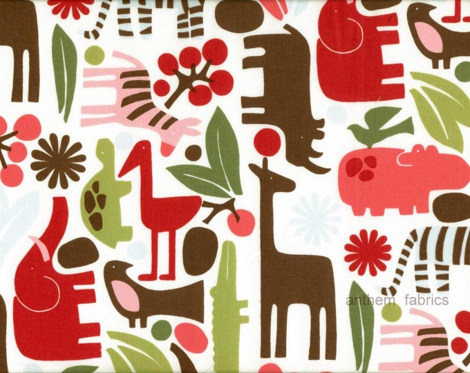 Alexander Henry Fabric - 2 D Zoo - AH6218 Red Holly - 1 yard