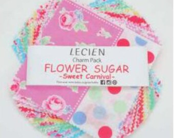 "Flower Sugar Sweet Carnival -  charm quilt cotton fabric squares bundle - 5"" x 5"" Charm Pack Lecien Japan - 42 pieces"