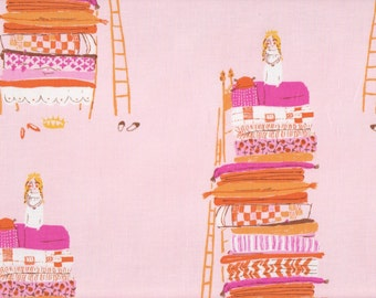 Far Far Away by Heather Ross, Quilt cotton fabric - Princess and the Pea HR9658 Pink- half yard