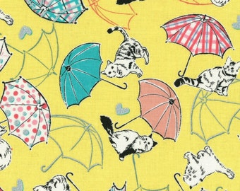 Radiant Girl Fabric by Lecien - Kitty Umbrella L49180-50 Yellow
