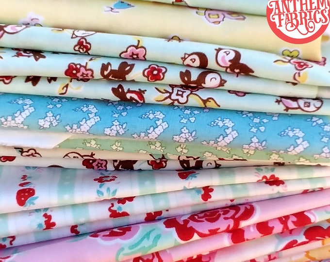 Remnants Cotton Fabric bundle, Vintage retro - Milk Sugar Flower by Elea Lutz for Penny Rose Riley Blake
