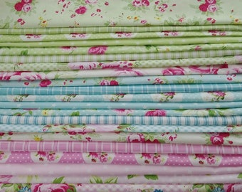 Tanya Whelan fabric Sunshine quilting cotton bundle, country cottage french chic - fat quarters, select a color-way