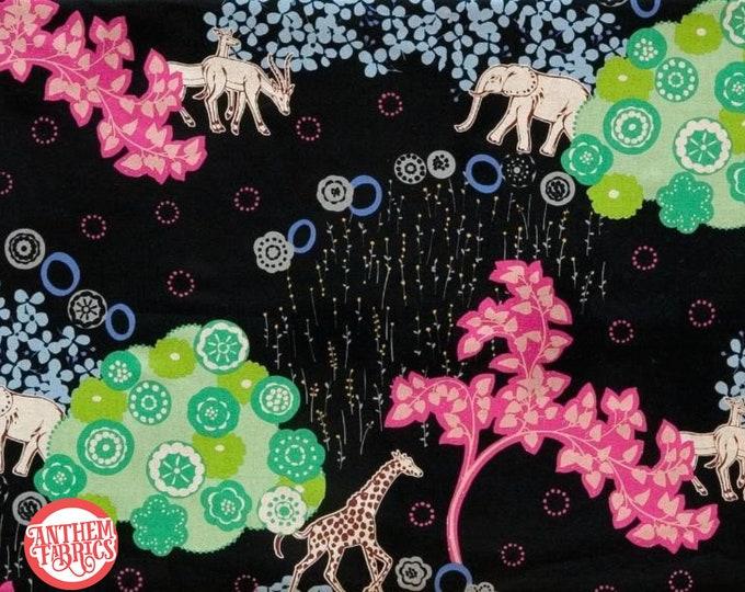 Echino by Etsuko Furuya - Cotton Linen Fabric - Quiet Ground EF503D Black, select a length