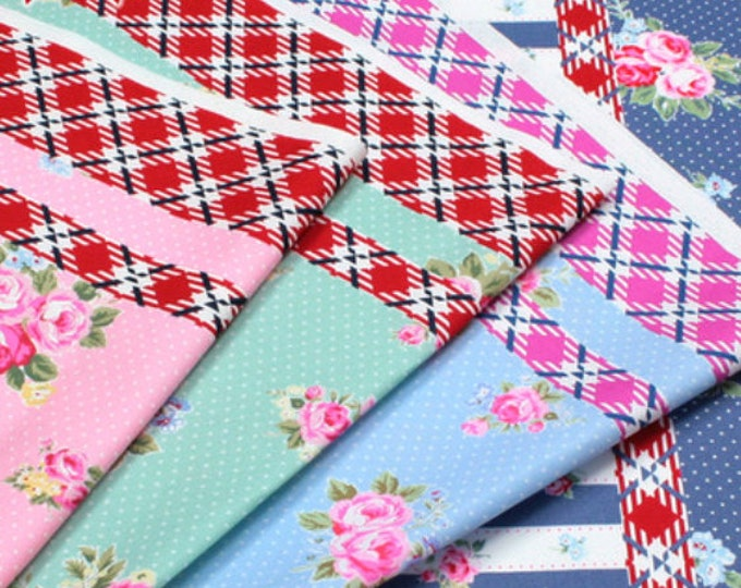 Oxford cotton canvas - Flower Sugar Maison Lecien Japan -  L40566 Stripes, select a 1/2 yard