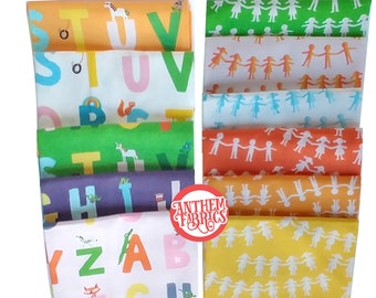 Kinder Heather Ross, 1/2 yards quilting cotton fabric bundle - choose Alphabet or Paper Dolls