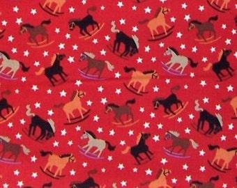Rockin' Broncos Santa Fe Southwest AH7114B Red , Alexander Henry fabric rocking horses rodeo