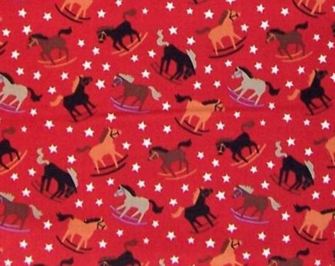Alexander Henry Rockin' Broncos AH7114B Red , Santa Fe Southwest fabric rocking horses rodeo