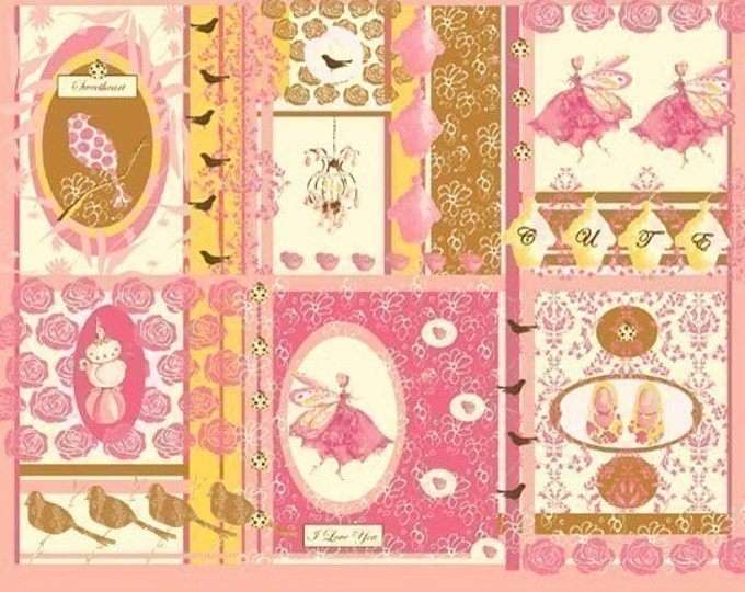 Fairy Tip Toes fabric by Tina Givens- Ella Panel TG59 Pink Yellow