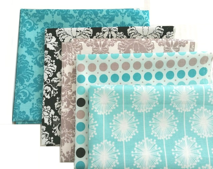 Quilting Cotton fabric bundle - Riley Blake - dots, floral, damask - 5 fat quarters