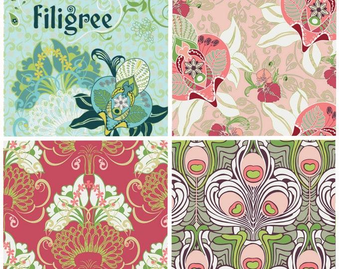 SALE Filigree cotton fabric - by the yard - Patricia Bravo Art Gallery Fabrics