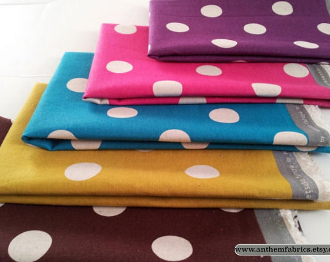 ECHINO-NICO by Etsuko Furuya - Cotton Linen Maruco Dots EF604,  1/2 yard - choose a color