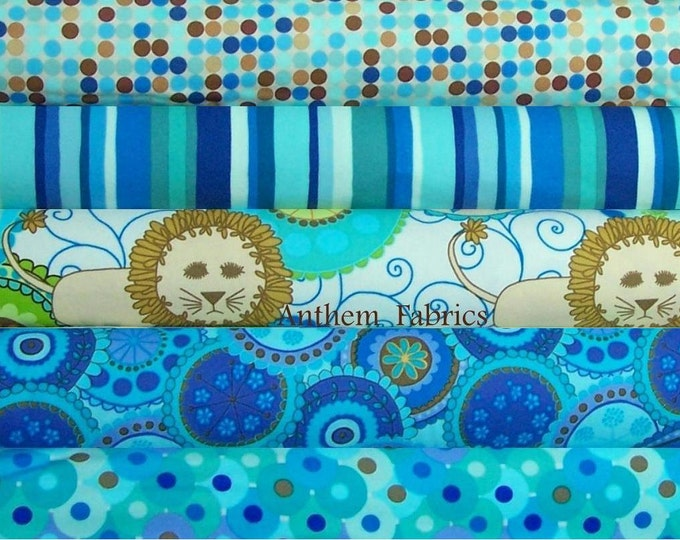 FLANNEL fabric - Urban, Bliss, Ocean fabrics by Valori Wells, bundle - 1/2 yard cuts, 5 pieces