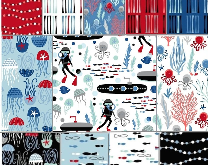 Come Dive with Me - bundle 12 fat quarters - cotton quilting - Whistler Studios Windham Fabric
