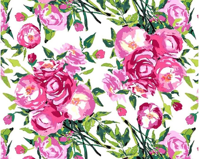 SALE Berkshire Main  RB6840 White cotton fabric, Berkshire Garden Watercolor Floral  - Lila Tueller for Riley Blake
