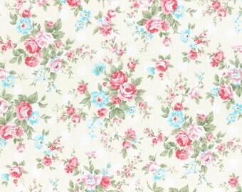 Princess Rose White Dots - Cotton Fabric by Lecien - Roses & Polka Dots L31265-10
