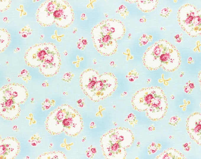 Princess Rose Fabric by Lecien - Gift Roses L31266-70 Blue
