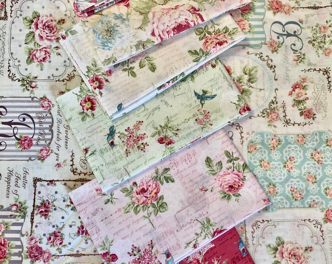 Quilt Gate Rose Bouquet Bundle -8 fat quarters