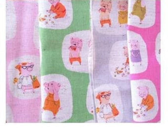 Heather Ross - Nursery Versery Cotton Linen - Piggies HR303,  4 fat quarters