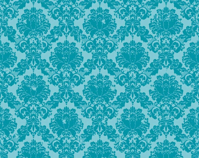 Riley Blake Andrea Victoria , Damask RB3552 Aqua, by the yard