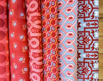 Deer Valley by Joel Dewberry  - Fabric bundle Red Peony 6 pieces, select a bundle