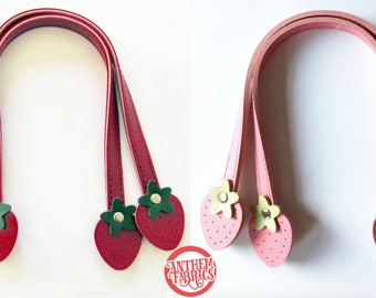 """Strawberry 12"""" Small - Purse Handles Sweet Fruit By Atsuko for Lecien Japan - 1 pair - choose a color"""