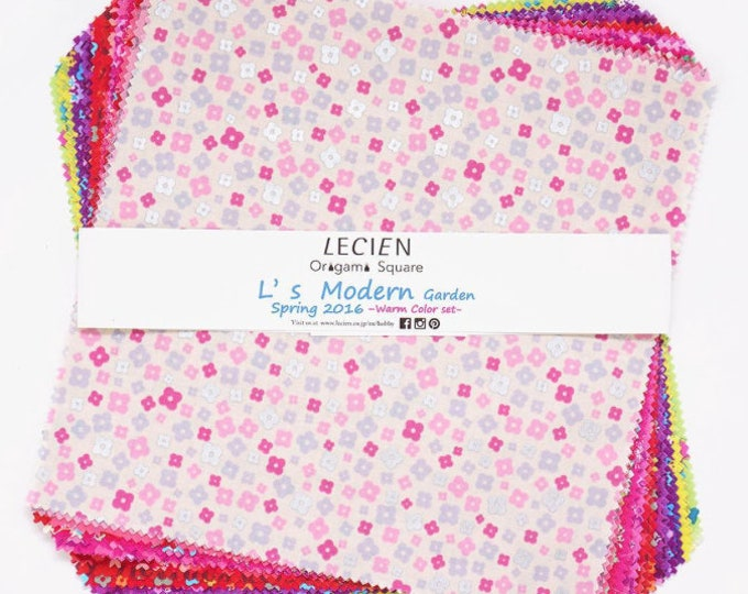 Layer cake  10x10 inches cotton fabric squares - Lecien Origami Pack- L3030 L's Modern Garden SP16 Warm color set - 42 pieces