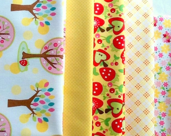 In the Forest Yellow palette, quilting cotton fabric 6 fat quarters